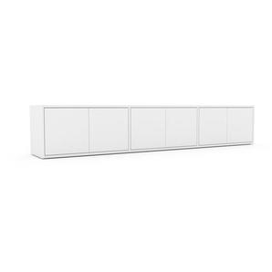 Lowboard Weiß - Designer-TV-Board: Türen in Weiß - Hochwertige Materialien - 226 x 41 x 35 cm, Komplett anpassbar