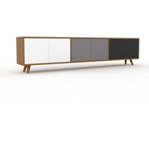 Lowboard Eiche - Designer-TV-Board: Türen in Weiß - Hochwertige Materialien - 226 x 53 x 35 cm, Komplett anpassbar