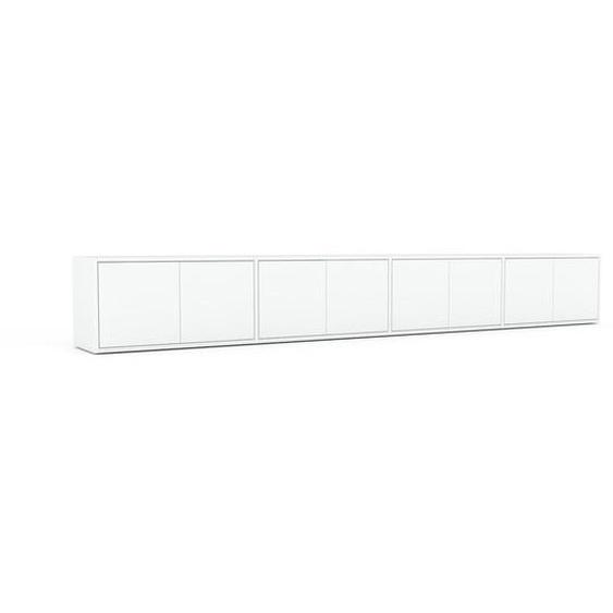 Lowboard Weiß - Designer-TV-Board: Türen in Weiß - Hochwertige Materialien - 301 x 41 x 35 cm, Komplett anpassbar