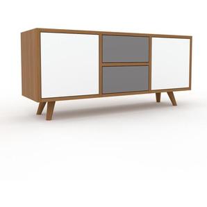 Lowboard Eiche - TV-Board: Schubladen in Grau & Türen in Weiß - Hochwertige Materialien - 118 x 53 x 35 cm, Komplett anpassbar