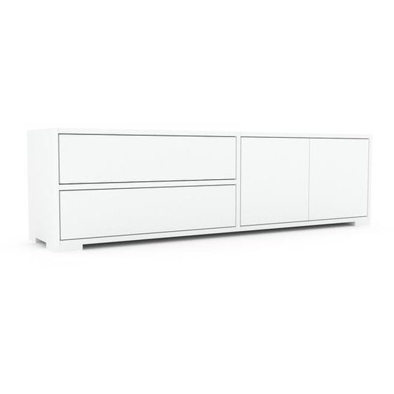 Lowboard Weiß - TV-Board: Schubladen in Weiß & Türen in Weiß - Hochwertige Materialien - 152 x 43 x 35 cm, Komplett anpassbar