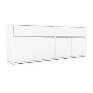 Lowboard Weiß - TV-Board: Schubladen in Weiß & Türen in Weiß - Hochwertige Materialien - 152 x 61 x 35 cm, Komplett anpassbar