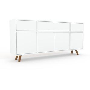 Lowboard Weiß - TV-Board: Schubladen in Weiß & Türen in Weiß - Hochwertige Materialien - 154 x 72 x 35 cm, Komplett anpassbar
