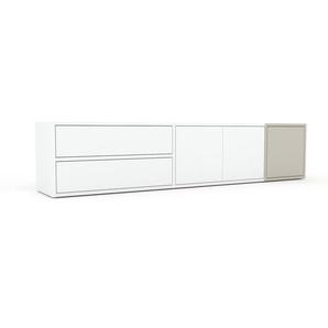Lowboard Weiß - TV-Board: Schubladen in Weiß & Türen in Weiß - Hochwertige Materialien - 190 x 41 x 35 cm, Komplett anpassbar