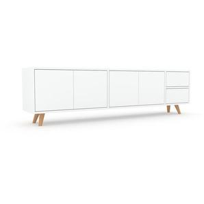 Lowboard Weiß - TV-Board: Schubladen in Weiß & Türen in Weiß - Hochwertige Materialien - 190 x 53 x 35 cm, Komplett anpassbar