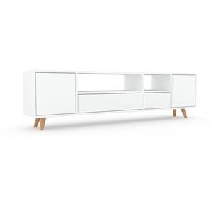 Lowboard Weiß - TV-Board: Schubladen in Weiß & Türen in Weiß - Hochwertige Materialien - 193 x 53 x 35 cm, Komplett anpassbar