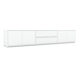 Lowboard Weiß - TV-Board: Schubladen in Weiß & Türen in Weiß - Hochwertige Materialien - 226 x 41 x 35 cm, Komplett anpassbar