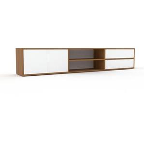 Lowboard Eiche - TV-Board: Schubladen in Weiß & Türen in Weiß - Hochwertige Materialien - 226 x 41 x 35 cm, Komplett anpassbar