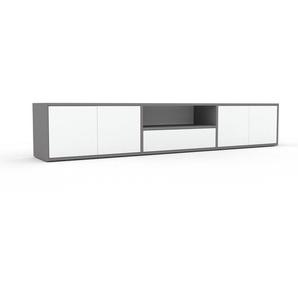 Lowboard Grau - TV-Board: Schubladen in Weiß & Türen in Weiß - Hochwertige Materialien - 226 x 41 x 35 cm, Komplett anpassbar