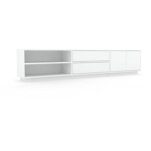 Lowboard Weiß - TV-Board: Schubladen in Weiß & Türen in Weiß - Hochwertige Materialien - 226 x 47 x 35 cm, Komplett anpassbar