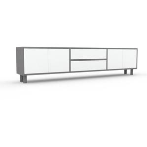 Lowboard Grau - TV-Board: Schubladen in Weiß & Türen in Weiß - Hochwertige Materialien - 226 x 53 x 35 cm, Komplett anpassbar