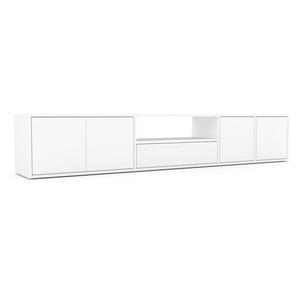 Lowboard Weiß - TV-Board: Schubladen in Weiß & Türen in Weiß - Hochwertige Materialien - 229 x 41 x 35 cm, Komplett anpassbar