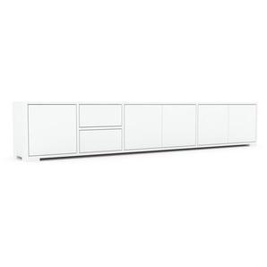 Lowboard Weiß - TV-Board: Schubladen in Weiß & Türen in Weiß - Hochwertige Materialien - 229 x 43 x 35 cm, Komplett anpassbar