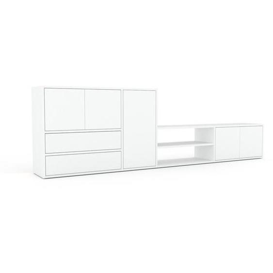 Lowboard Weiß - TV-Board: Schubladen in Weiß & Türen in Weiß - Hochwertige Materialien - 265 x 80 x 35 cm, Komplett anpassbar