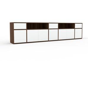 Lowboard Nussbaum - TV-Board: Schubladen in Weiß & Türen in Weiß - Hochwertige Materialien - 267 x 61 x 35 cm, Komplett anpassbar