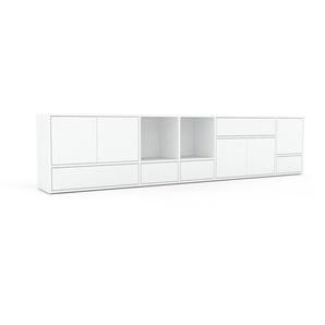 Lowboard Weiß - TV-Board: Schubladen in Weiß & Türen in Weiß - Hochwertige Materialien - 267 x 61 x 35 cm, Komplett anpassbar