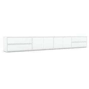 Lowboard Weiß - TV-Board: Schubladen in Weiß & Türen in Weiß - Hochwertige Materialien - 301 x 41 x 35 cm, Komplett anpassbar