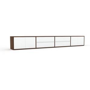 Lowboard Nussbaum - TV-Board: Schubladen in Weiß & Türen in Weiß - Hochwertige Materialien - 301 x 41 x 35 cm, Komplett anpassbar