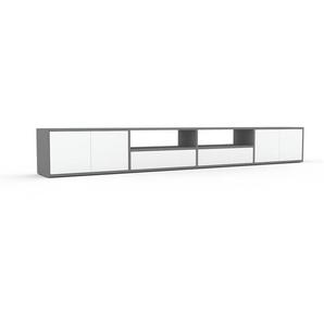 Lowboard Grau - TV-Board: Schubladen in Weiß & Türen in Weiß - Hochwertige Materialien - 301 x 41 x 35 cm, Komplett anpassbar