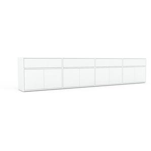 Lowboard Weiß - TV-Board: Schubladen in Weiß & Türen in Weiß - Hochwertige Materialien - 301 x 61 x 35 cm, Komplett anpassbar