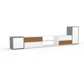 Lowboard Grau - TV-Board: Schubladen in Weiß & Türen in Weiß - Hochwertige Materialien - 303 x 80 x 35 cm, Komplett anpassbar