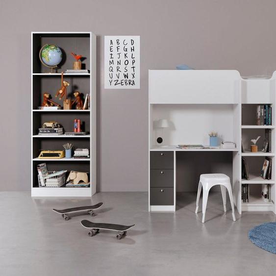 Lüttenhütt Bett »Lyon«, in zwei unterschiedlichen Farbvarianten, mit integriertem Schreibtisch und einem Kleiderschrank