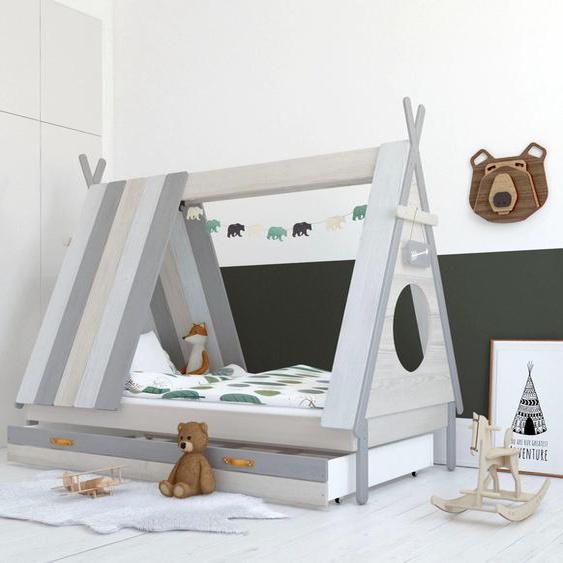 Lüttenhütt Hausbett Drollig 90x200 cm weiß Kinder Kinderbetten Kindermöbel Betten