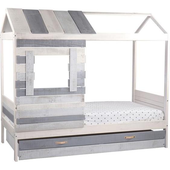 Lüttenhütt Hausbett Drollig, Kinderbett in skandinavischer Gemütlichkeit 90x200 cm grau Kinder Kinderbetten Kindermöbel Betten