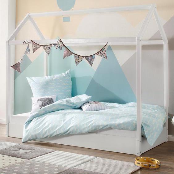 Lüttenhütt Hausbett Ellen, aus massivem Kiefernholz, in zwei verschiedenen Farbvarianten erhältlich, Breite 98 cm 90x200 Höhe Bettseite: 21 weiß Kinder Kinderbetten Kindermöbel Betten