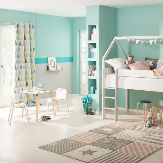 Lüttenhütt Kinderbett Alpi, aus massivem Kiefernholz, in einer Haus-Optik Form, Liegefläche 90x200 cm Höhe Bettseite: 110 weiß Kinder Kinderbetten Kindermöbel Betten