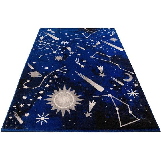 Lüttenhütt Kinderteppich Alena, rechteckig, 14 mm Höhe, für Kinder und Jugendzimmer 7, 240x340 cm, blau Bunte Kinderteppiche Teppiche