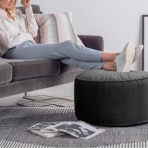 Lux runder Polsterhocker (60 cm), Samt in Grau
