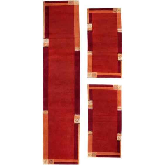 LUXOR living Bettumrandung India, Bettvorleger, Läufer-Set für das Schlafzimmer, reine Wolle, handgeknüpft, mit Bordüre B/L (Brücke): 70 cm x 140 (2 St.) (Läufer): 335 (1 St.), rechteckig rot Bettumrandungen Läufer Teppiche