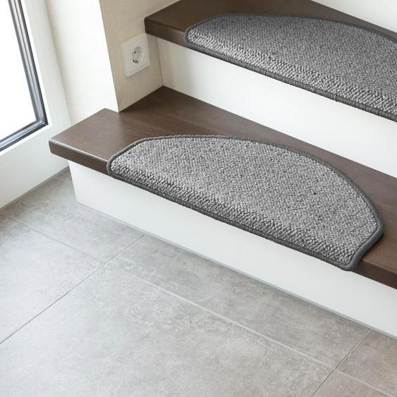 LUXOR living Stufenmatte Sheffield, halbrund, 5 mm Höhe, Schurwolle, melierte Berber-Optik, erhältlich als Set mit 2 Stück oder 15 B/L: 28 cm x 65 cm, St. grau Stufenmatten Teppiche