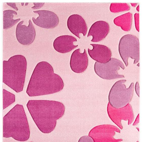 LUXOR living Kinderteppich Flair, rechteckig, 15 mm Höhe, Kurzflor, Blumen Design, Kinderzimmer B/L: 170 cm x 230 cm, 1 St. rosa Kinder Kinderteppiche mit Motiv Teppiche