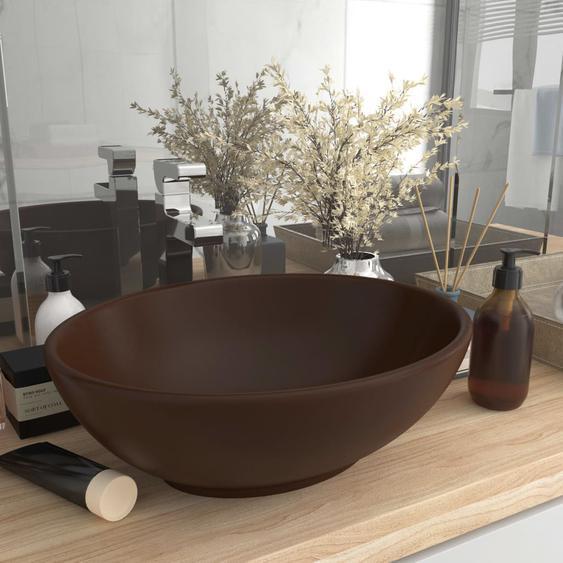 Luxuriöses Ovales Waschbecken Matt Dunkelbraun 40x33 cm Keramik