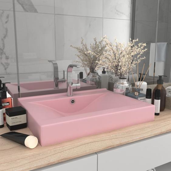 Luxuriöses Waschbecken mit Hahnloch Matt-Rosa 60x46 cm Keramik