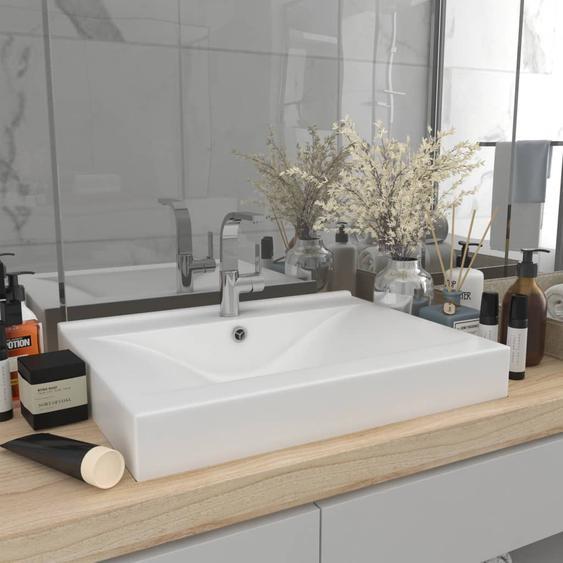Luxuriöses Waschbecken mit Hahnloch Matt-Weiß 60x46 cm Keramik