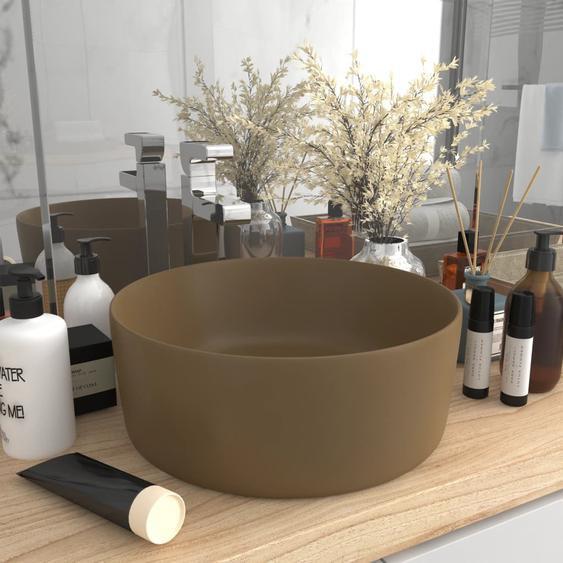 Luxuriöses Waschbecken Rund Matt Creme 40x15 cm Keramik