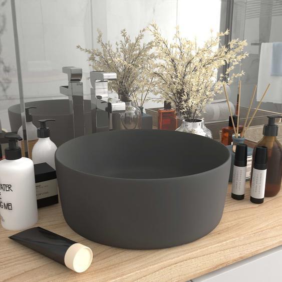 Luxuriöses Waschbecken Rund Matt Dunkelgrau 40x15 cm Keramik