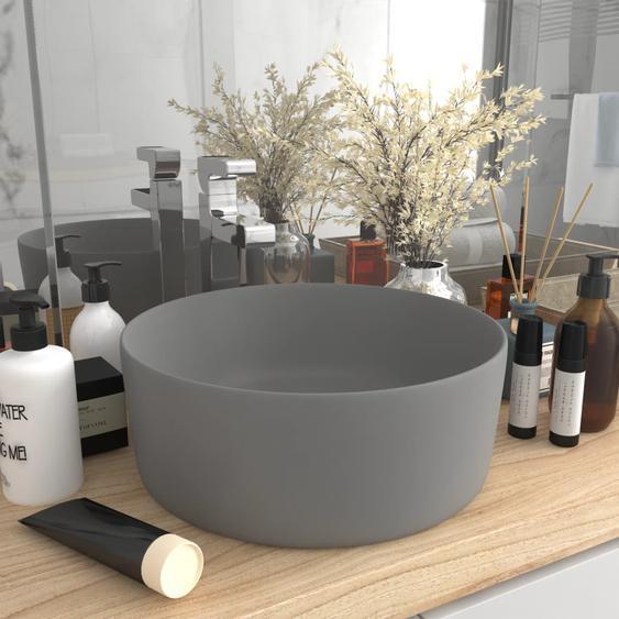 Luxuriöses Waschbecken Rund Matt Hellgrau 40x15 cm Keramik