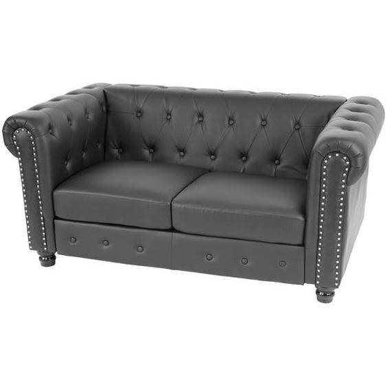 Luxus 2er Sofa Loungesofa Couch Chesterfield Kunstleder ~ runde F��e, schwarz