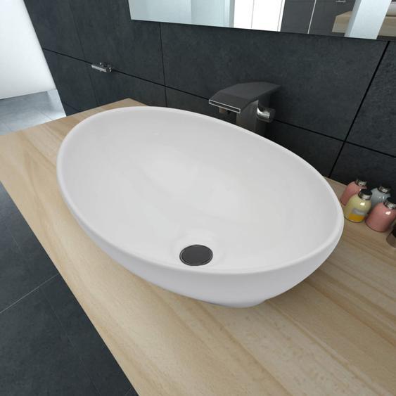 Luxus Keramik Waschbecken Oval Weiß 40 x 33 cm