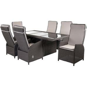 Luxus Poly-Rattan-Garnitur Burgos, Premium Lounge Set Alu-Sitzgruppe Tisch + 6 verstellbare Stühle ~ grau - HHG