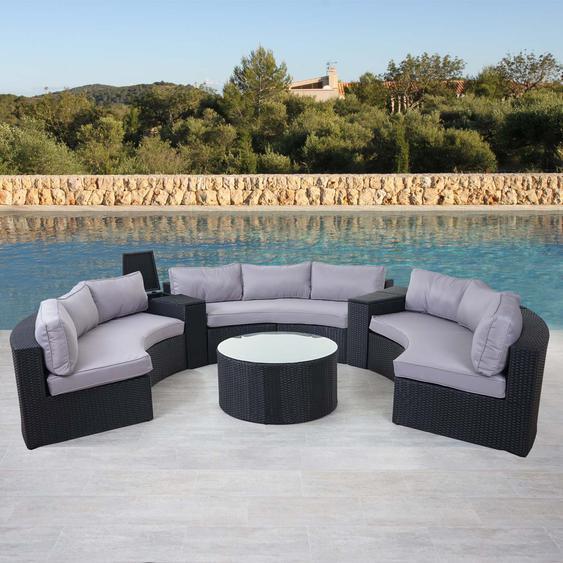 Luxus Poly-Rattan-Garnitur Savoie, Sitzgruppe Lounge-Set, XXL Sofa rund, anthrazit Kissen grau