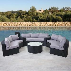 Luxus Poly-Rattan-Garnitur Savoie, Sitzgruppe Lounge-Set, XXL rund, anthrazit Kissen grau