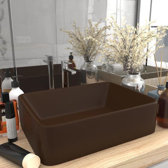 Luxus-Waschbecken Matt Dunkelbraun 41x30x12 cm Keramik