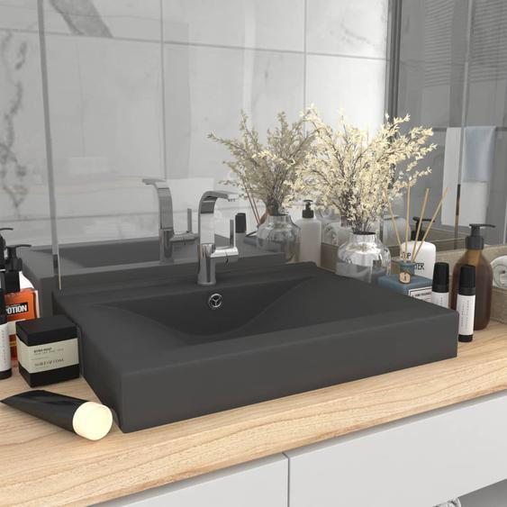 Luxus-Waschbecken mit Hahnloch Matt Dunkelgrau 60x46cm Keramik