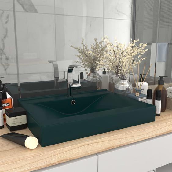 Luxus-Waschbecken mit Hahnloch Matt Dunkelgrün 60x46cm Keramik