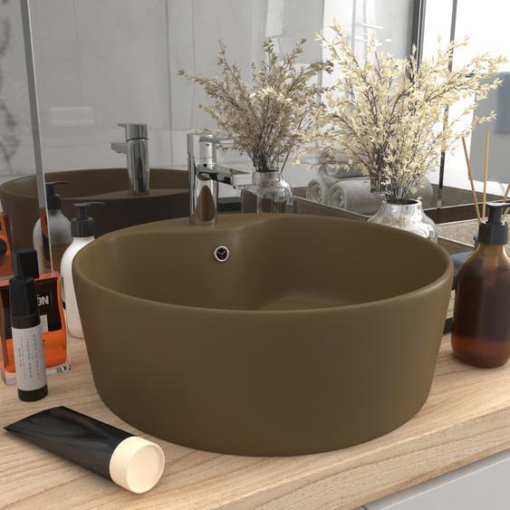 Luxus-Waschbecken mit Überlauf Matt Creme 36x13 cm Keramik
